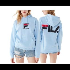 Nice fila pull over fleece light hoodie sky blue
